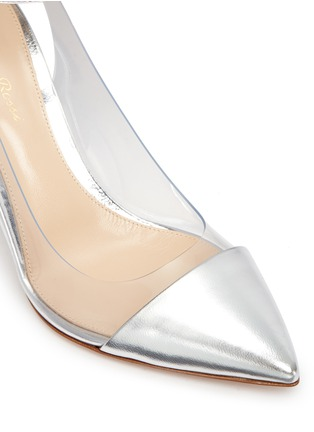 Detail View - Click To Enlarge - Gianvito Rossi - 'Plexi' clear PVC metallic leather ankle strap pumps