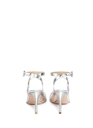 Back View - Click To Enlarge - Gianvito Rossi - 'Plexi' clear PVC metallic leather ankle strap pumps