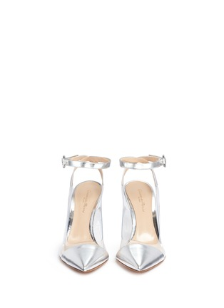 Front View - Click To Enlarge - Gianvito Rossi - 'Plexi' clear PVC metallic leather ankle strap pumps