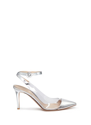Main View - Click To Enlarge - Gianvito Rossi - 'Plexi' clear PVC metallic leather ankle strap pumps