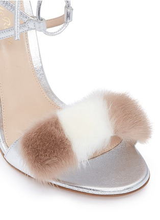 Detail View - Click To Enlarge - GIANVITO ROSSI - 'Zelda' fur band leather sandals