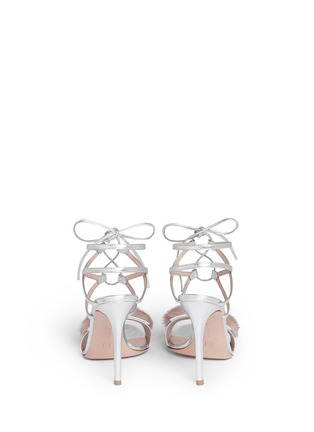 Back View - Click To Enlarge - GIANVITO ROSSI - 'Zelda' fur band leather sandals