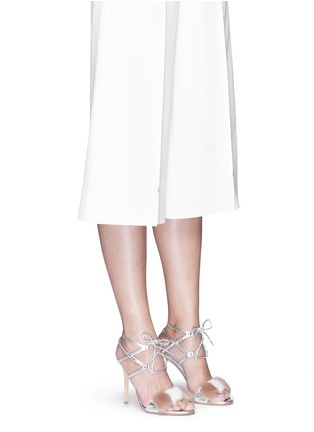 Figure View - Click To Enlarge - GIANVITO ROSSI - 'Zelda' fur band leather sandals