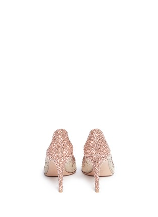 Back View - Click To Enlarge - Gianvito Rossi - Suede trim strass pavé sheer mesh pumps