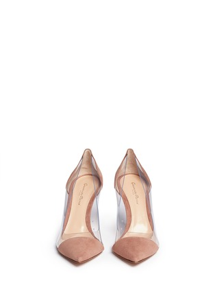 Front View - Click To Enlarge - Gianvito Rossi - 'Plexi' clear PVC suede pumps