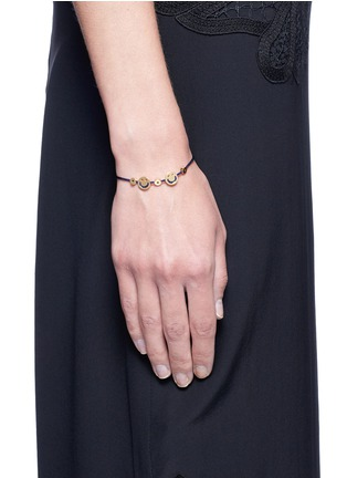 Figure View - Click To Enlarge - Ruifier - 'Happy² Hearts' 18k yellow gold charm cord bracelet