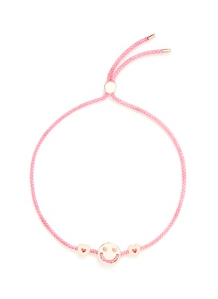 Main View - Click To Enlarge - Ruifier - 'Smitten Hearts' 18k rose gold charm cord bracelet