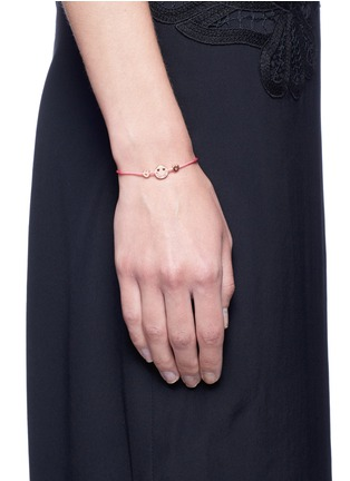 Figure View - Click To Enlarge - Ruifier - 'Smitten Hearts' 18k rose gold charm cord bracelet