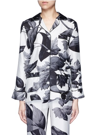 Main View - Click To Enlarge - F.R.S For Restless Sleepers - 'Rea' greyscale leaf print silk pyjama shirt