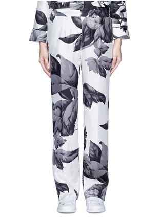 Main View - Click To Enlarge - F.R.S FOR RESTLESS SLEEPERS - 'Crono' greyscale leaf print silk pyjama pants
