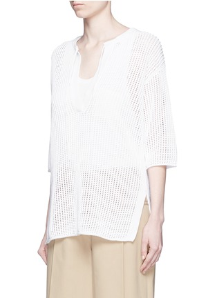 Front View - Click To Enlarge - Theory - 'Limtally B' drawstring V-neck open knit top