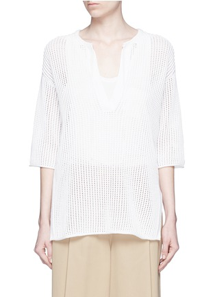 Main View - Click To Enlarge - Theory - 'Limtally B' drawstring V-neck open knit top