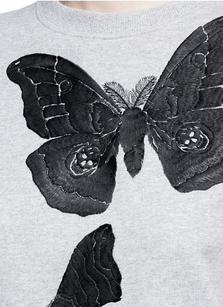 Detail View - Click To Enlarge - Alexander McQueen - Moth embroidery French terry sweartshirt
