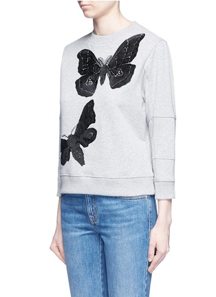 Front View - Click To Enlarge - Alexander McQueen - Moth embroidery French terry sweartshirt