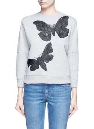 Main View - Click To Enlarge - Alexander McQueen - Moth embroidery French terry sweartshirt