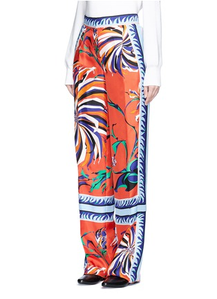 Front View - Click To Enlarge - EMILIO PUCCI - Cactus flower print silk pyjama pants