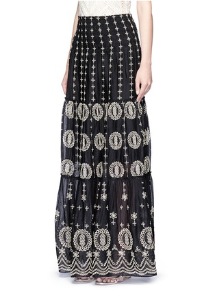 Front View - Click To Enlarge - alice + olivia - 'Lysa' eyelet embroidered convertible maxi skirt
