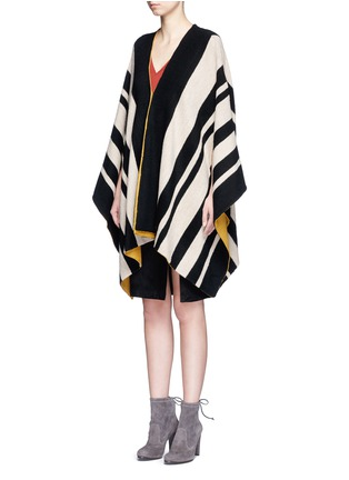 Front View - Click To Enlarge - alice + olivia - 'Minka' oversize stripe wool poncho