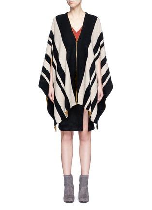 Main View - Click To Enlarge - alice + olivia - 'Minka' oversize stripe wool poncho