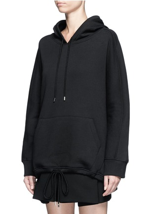 Front View - Click To Enlarge - Balenciaga - Logo stamp cotton blend hoodie
