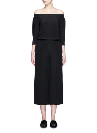 Main View - Click To Enlarge - THEORY - 'Faley' silk off-shoulder jumpsuit