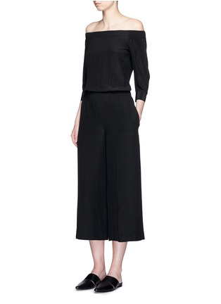 Figure View - Click To Enlarge - THEORY - 'Faley' silk off-shoulder jumpsuit
