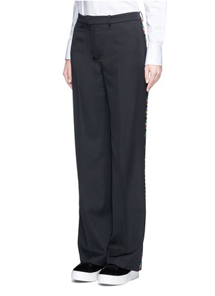 Front View - Click To Enlarge - Ports 1961 - Geometric ribbon embroidery virgin wool pants