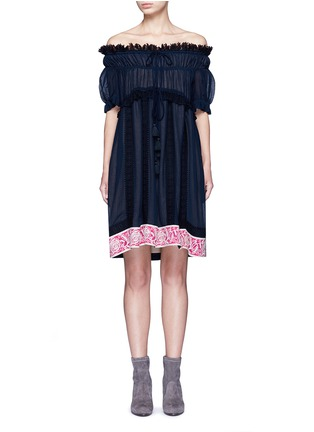 Main View - Click To Enlarge - Chloé - Embroidered ruffle crinkled cotton-silk off-shoulder dress