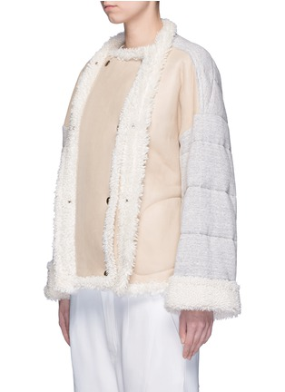 Front View - Click To Enlarge - CHLOÉ - Jersey sleeve shearling jacket