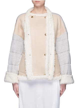 Main View - Click To Enlarge - CHLOÉ - Jersey sleeve shearling jacket