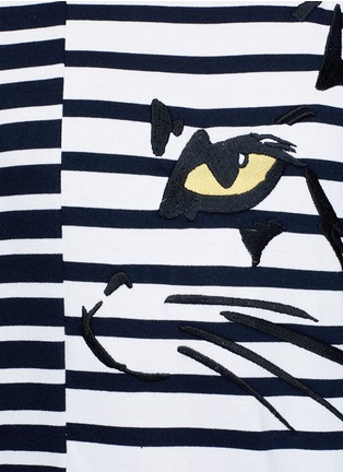 Detail View - Click To Enlarge - Stella McCartney - Cat embroidery stripe cotton sweatshirt