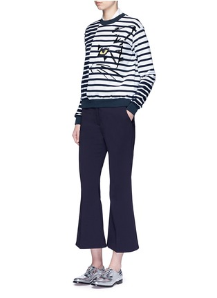 Figure View - Click To Enlarge - Stella McCartney - Cat embroidery stripe cotton sweatshirt