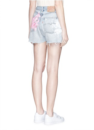 Back View - Click To Enlarge - RIALTO JEAN PROJECT - One of a kind hand-painted cherry blossom splatter vintage shorts