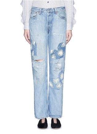 Detail View - Click To Enlarge - RIALTO JEAN PROJECT - One of a kind patchwork hand-painted daisy vintage boyfriend jeans