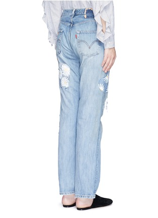Back View - Click To Enlarge - RIALTO JEAN PROJECT - One of a kind patchwork hand-painted daisy vintage boyfriend jeans