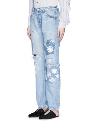 Front View - Click To Enlarge - RIALTO JEAN PROJECT - One of a kind patchwork hand-painted daisy vintage boyfriend jeans