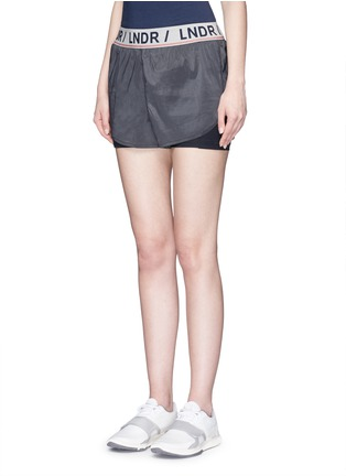 Front View - Click To Enlarge - LNDR - 'Luna' double layer running shorts