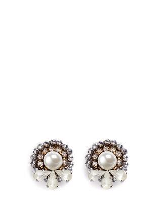 Main View - Click To Enlarge - Erickson Beamon - 'Swan Lake' 24k gold plated Swarovski crystal stud earrings