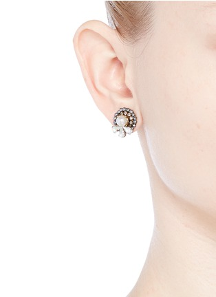 Figure View - Click To Enlarge - Erickson Beamon - 'Swan Lake' 24k gold plated Swarovski crystal stud earrings