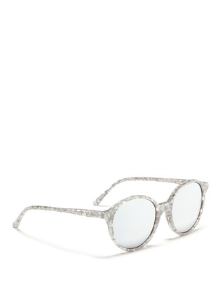 Figure View - Click To Enlarge - Ross & Brown - 'Capri' shell effect acetate mirror sunglasses