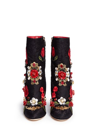 Figure View - Click To Enlarge - Dolce & Gabbana - Leather rosette embroidery filigree brocade boots