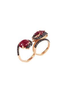 Stephen Webster Diamond ruby 18k rose gold two finger snake ring