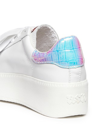 Detail View - Click To Enlarge - ASH - 'Cult' holographic trim leather platform sneakers
