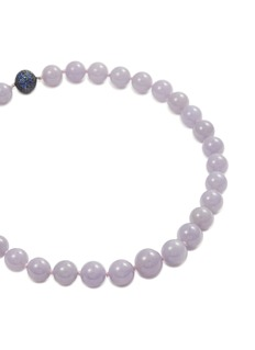 Samuel Kung Sapphire jade bead 18k white gold necklace