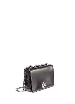 Front View - Click To Enlarge - Tory Burch - 'Mercer' adjustable metallic leather shoulder bag