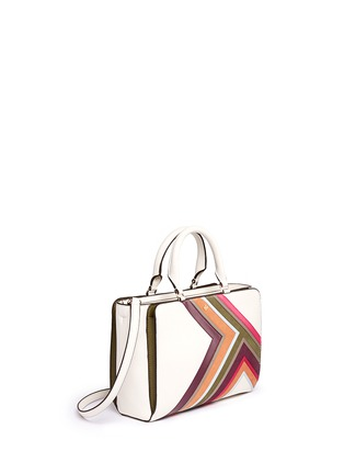 Front View - Click To Enlarge - Tory Burch - 'Robinson' small suede stripe saffiano leather zip tote