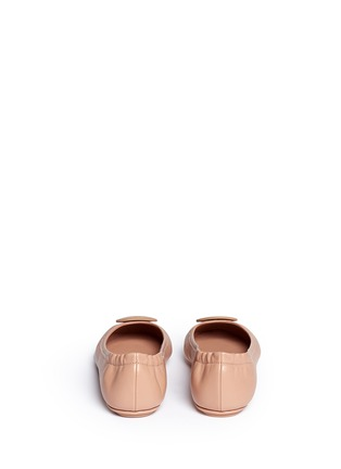 Back View - Click To Enlarge - TORY BURCH - 'Minnie Travel' leather ballet flats