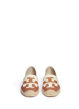 Front View - Click To Enlarge - Tory Burch - 'Jamie' leather logo colourblock canvas espadrille slip-ons