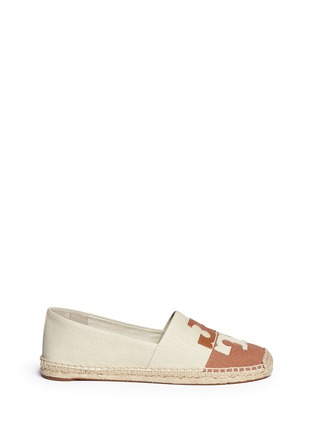 Main View - Click To Enlarge - Tory Burch - 'Jamie' leather logo colourblock canvas espadrille slip-ons