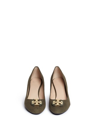 Front View - Click To Enlarge - Tory Burch - 'Luna' metal logo suede wedge pumps